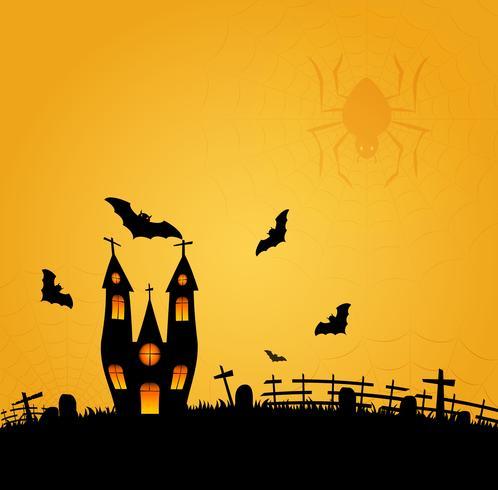 Fondo de Halloween con el bate volando y la luna llena. Ilustracion vectorial Feliz cartel de halloween.