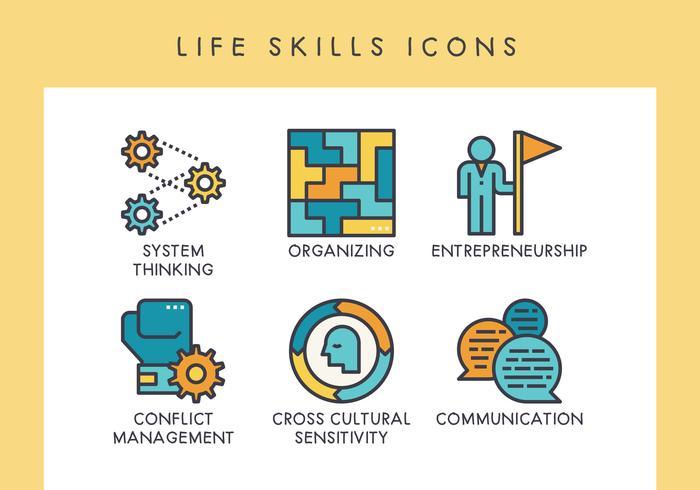 Iconos de habilidades de vida vector