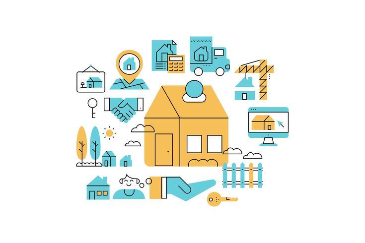 Ilustración de iconos de línea de bienes raíces