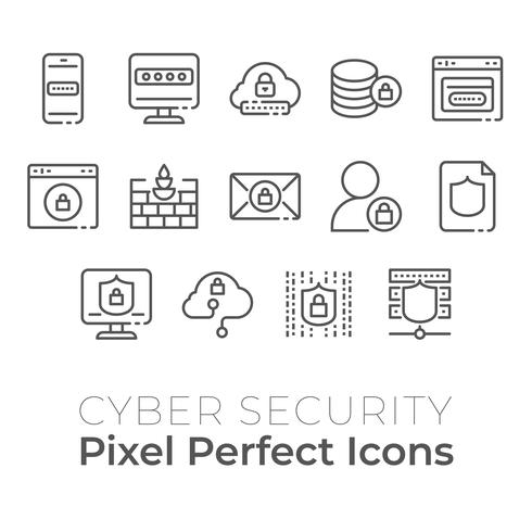 Cyber Security technolog icons set. Pixel perfect icon vector
