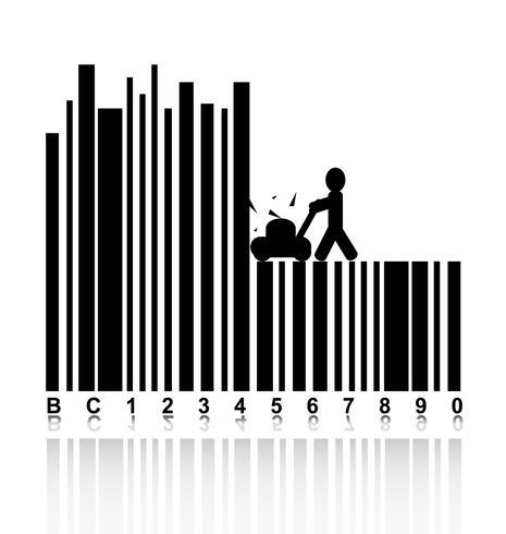 Concepto en código de barras con cortacéspedes de personas.