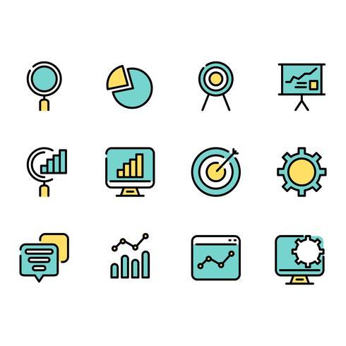 Eenvoudige reeks overzichts Bedrijfsinformatie dunne gegevenspictogrammen voor Web.
