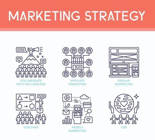 Ícones de ilustração de estratégia de marketing vetor