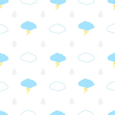 Seamless pattern with clouds, bolt and rain on a white background. Vector repeating texture.