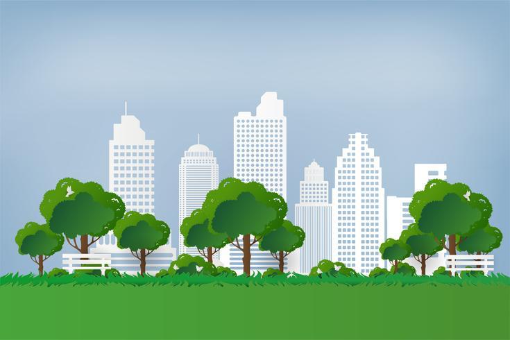 Natuurlijk zicht. Groen park. Groene boom en gras in stedelijke stad bij zonsondergang. papierkunststijl.