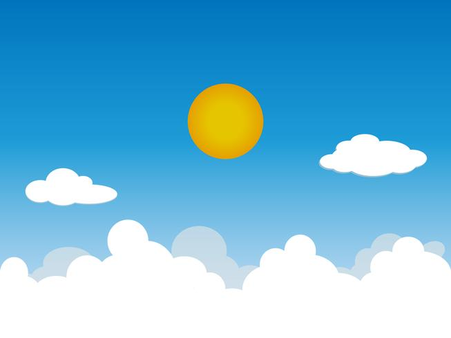 Solig bakgrund, blå himmel med vita moln och sol, vektor illustration.