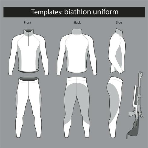 Templates biathlete form. mockup vector illustration. sport suit