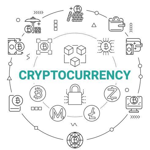 Criptovaluta con tecnologia di rete Blockchain. Concetto di denaro digitale.
