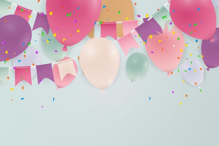 Aniversário ou feliz aniversário cartão celebração fundo com balões. Ilustração.