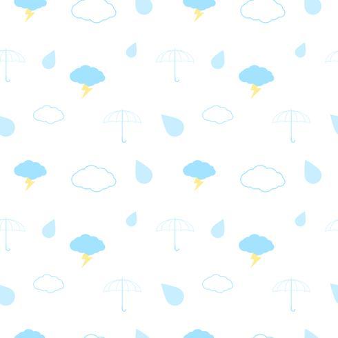 Naadloos patroon met wolken, paraplu, blikseminslag en regen op een witte achtergrond. Vector herhalende structuur.