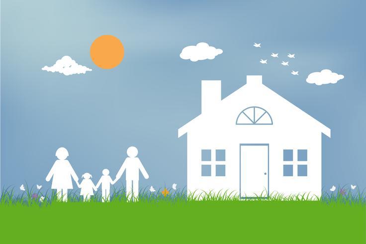 Familj med barn i huset. Par står utanför nytt hem. platt design stil.