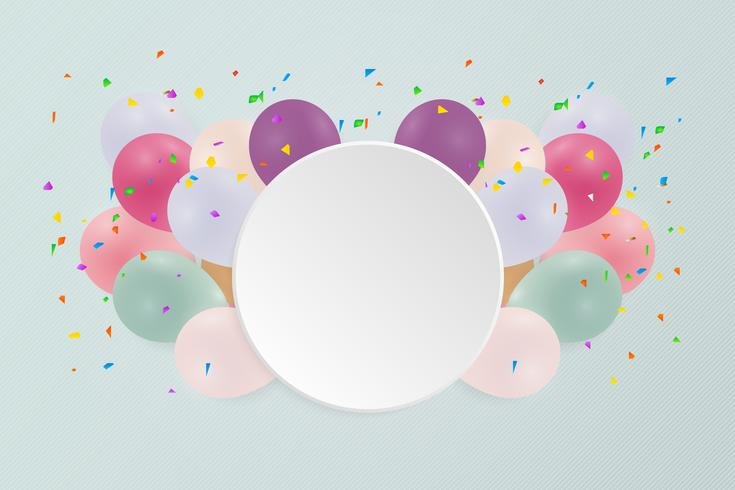 Happy birthday card with pastel colorful balloons. Vector illustration. copy space.