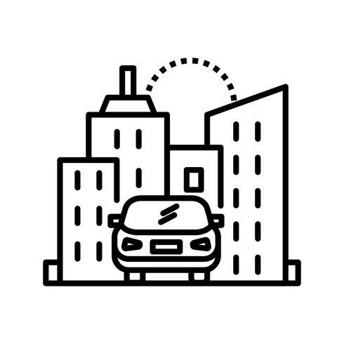 Coche en ciudad Line Black Icon vector