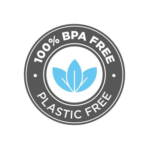 100% libre de BPA. Icono libre de plástico 100%. vector