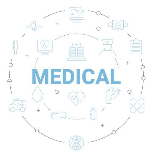 Moderne medische pictogrammen en gezondheidszorg globale communicatie comcept. Ontwerp met dunne lijnen.
