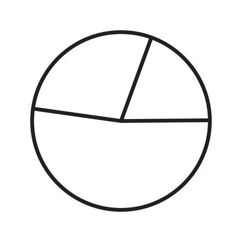 Gráfico circular línea icono negro vector