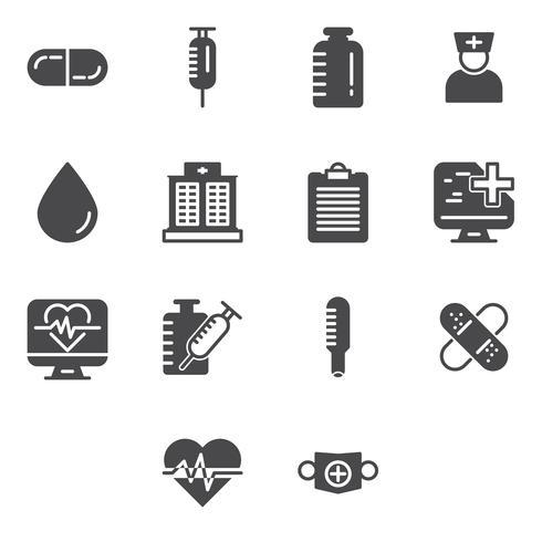 Medicinska och sjukvårdssymboler. vektor