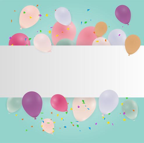 Tarjeta de feliz cumpleaños con globos de colores pastel. Ilustracion vectorial copia espacio.