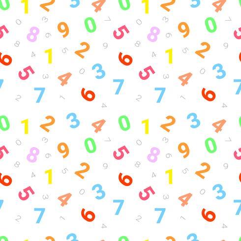 Patrón sin fisuras con los números de cero a nueve en un fondo blanco. Vector repitiendo la textura.