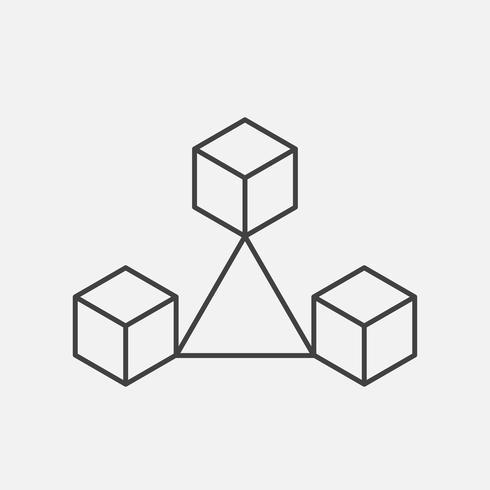 Blockchain technology thin line style. Vector block chain icons or logo.
