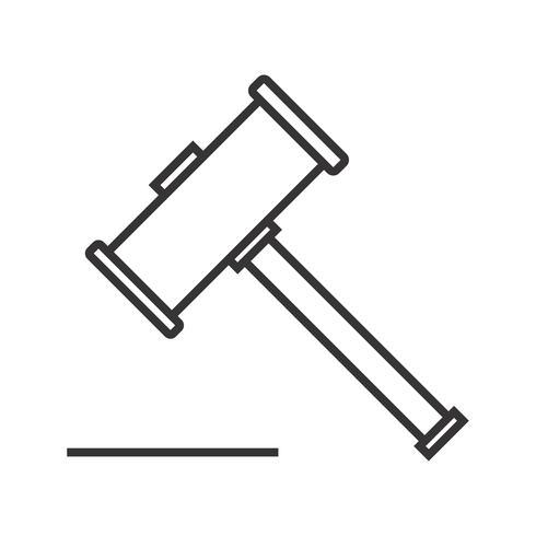 martillo de madera línea icono negro vector