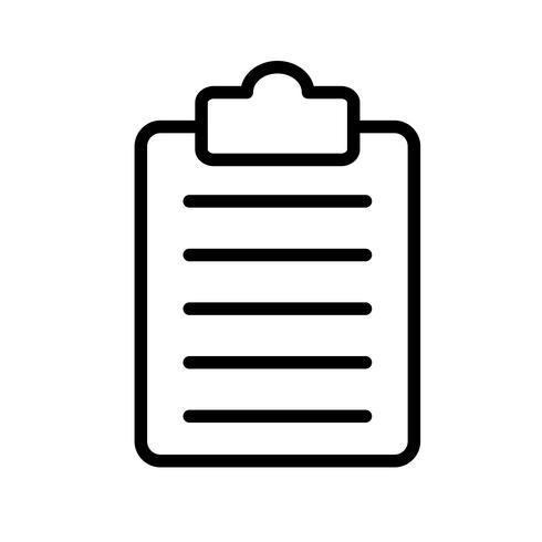 Portapapeles lista Línea Icono Negro vector