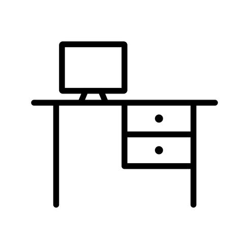 Icono de línea de escritorio negro vector
