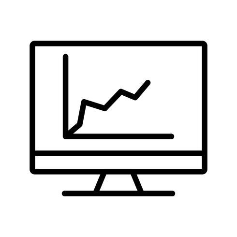 Diagrama en la pantalla Icono de línea negra vector