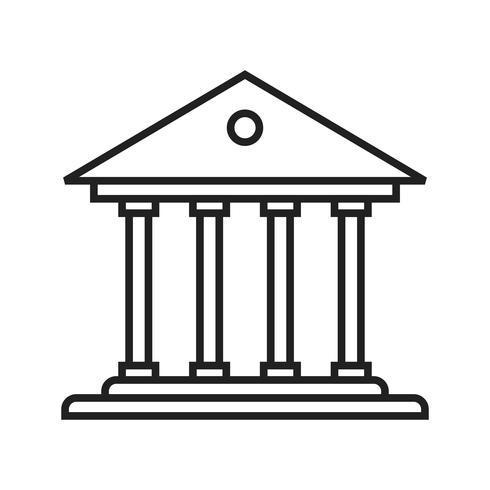Icono de línea de banco negro vector