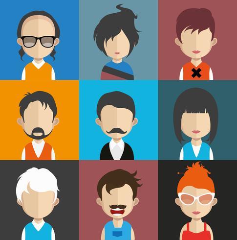Conjunto de avatares de pessoas com planos de fundo vetor