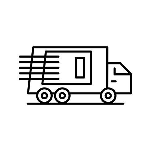 icono de línea de camión negro vector
