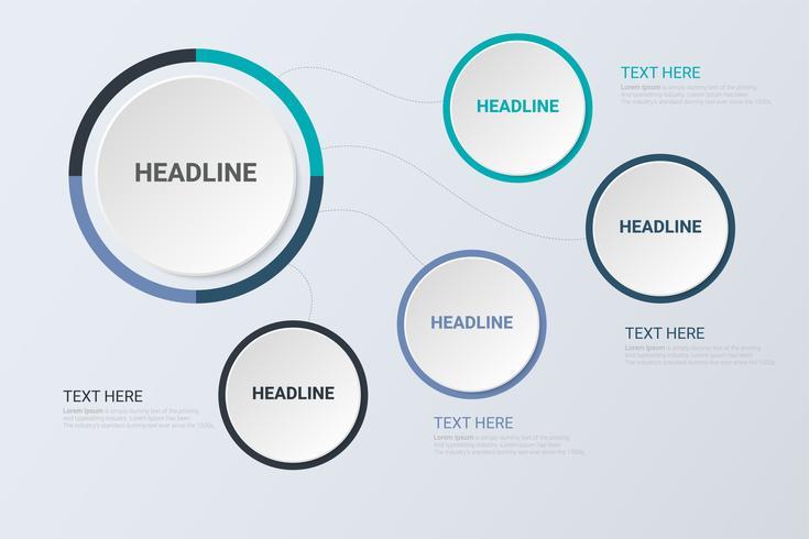 Concepto de infografía Concepto de negocio. Plantilla de círculo de negocios con opciones para folleto, diagrama, flujo de trabajo, línea de tiempo, diseño web vector