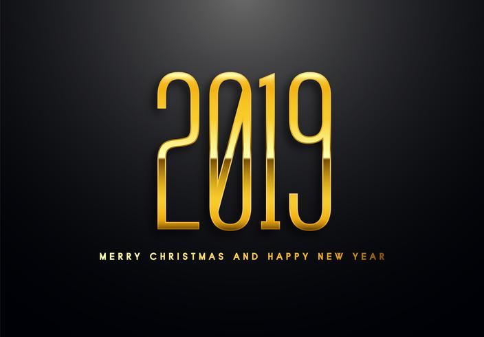 2019 Holiday Vector Gruß Illustration mit goldenen Zahlen.