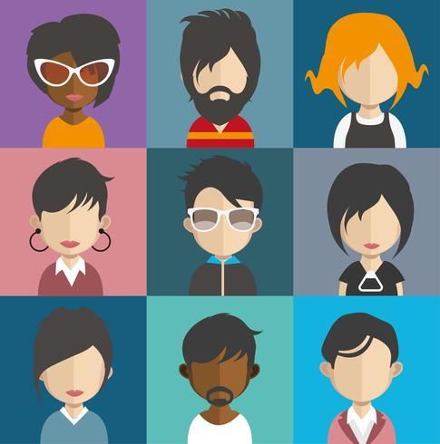 Conjunto de avatares de personas con fondos.