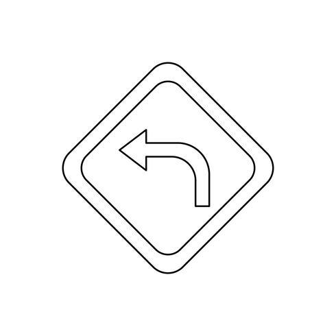 Left turn Line Black Icon