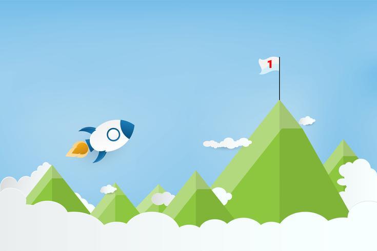 Estilo del arte en papel. Lanzamiento de cohete en las nubes y montaña. Negocio creciente objetivo o concepto de éxito.