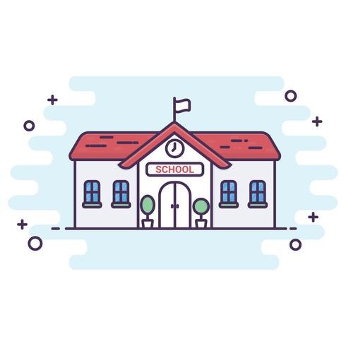 Line art style. School ilustration vector background. Back to school concept
