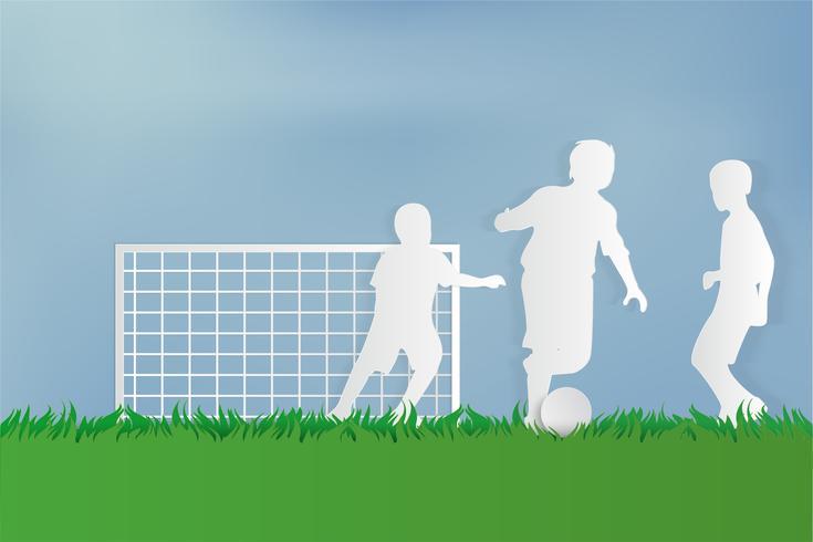 Jugador de fútbol en hierba verde en el parque urbano de la ciudad. estilo de arte de papel. vector