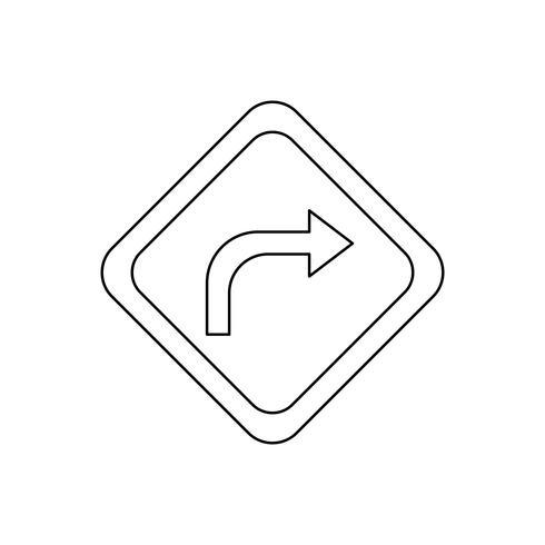 Gire a la derecha icono de línea negra vector