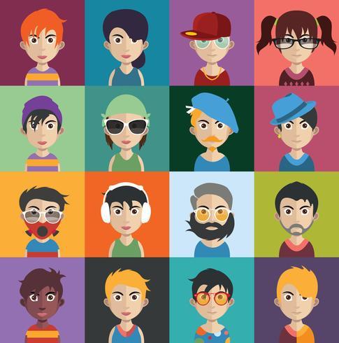 Ensemble d'avatars de personnes avec des arrière-plans
