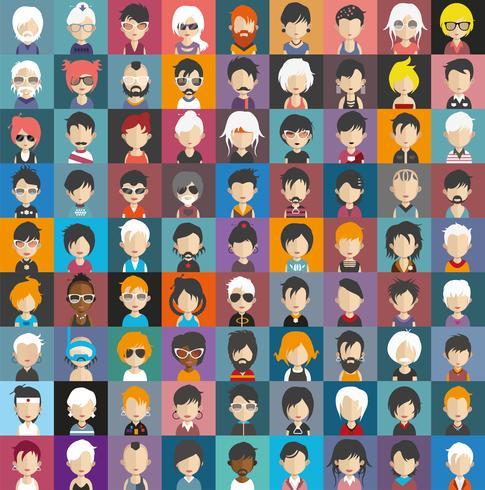 Conjunto de avatares de personas con fondos. vector