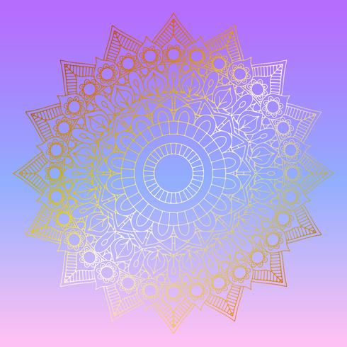 Golden mandala design on pastel gradient background