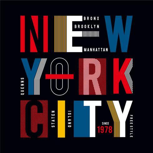 New York City - modern typografi för designkläder, atletisk t-shirt.