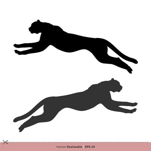Laufendes Gepard-Schattenbild-Vektor Logo Template Illustration Design
