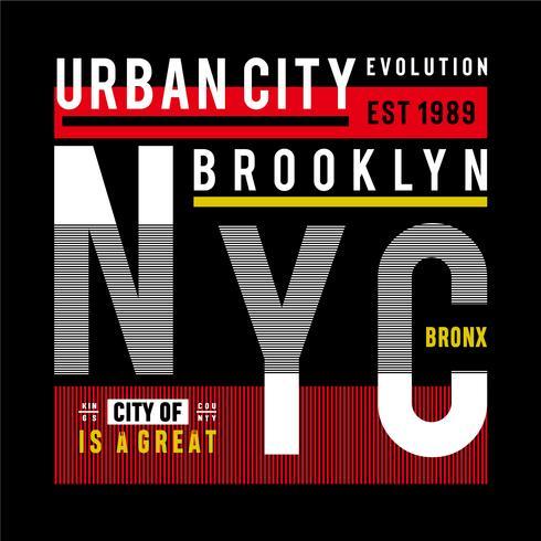 tipografia grafica di progettazione della maglietta urbana di New York City