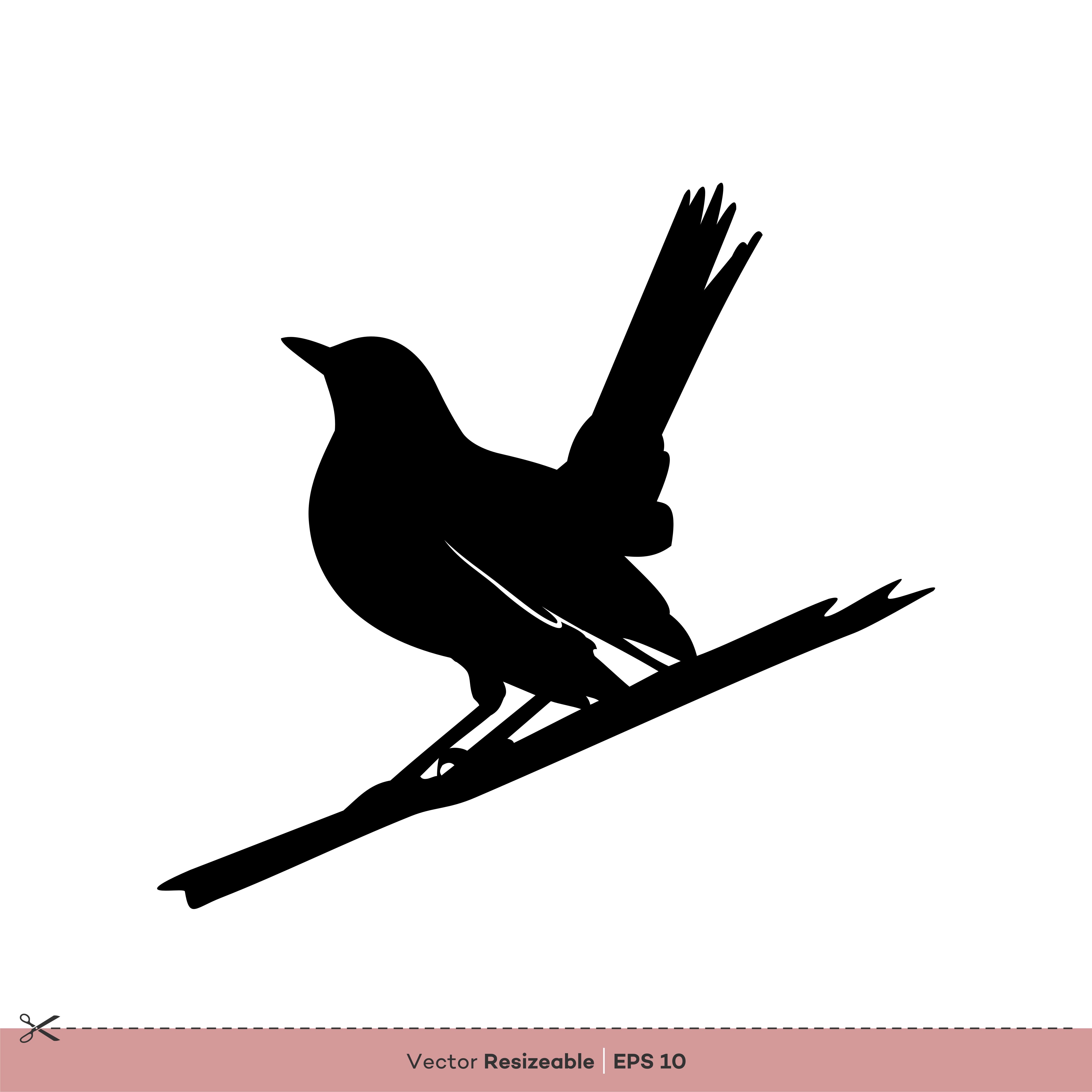 Robin Bird Silhouette Vector Logo Template Illustration