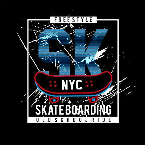 Skate Board Sk-Typografie-Design-T-Shirt Vektor