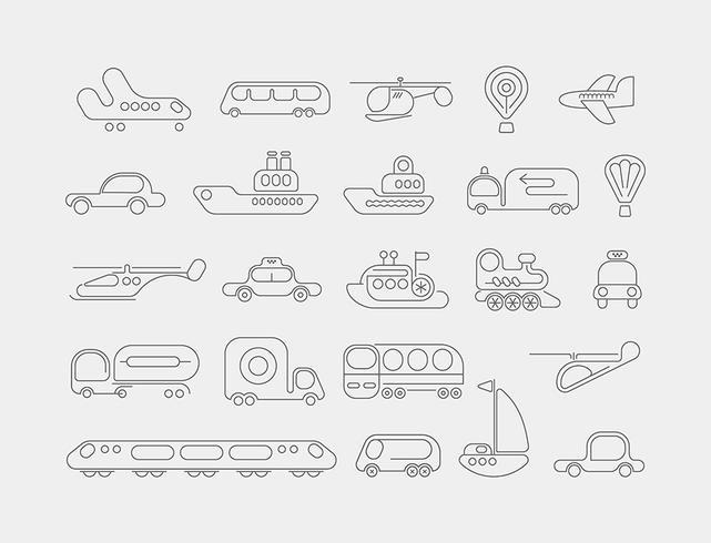Vervoer neon vector iconen