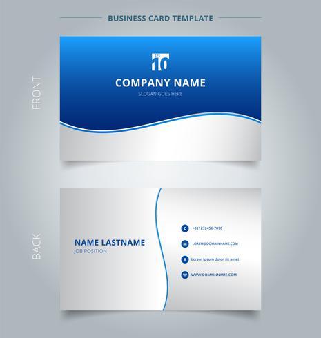 Modello di biglietto da visita e biglietto da visita creativo, linee di onda Stripe grafica sfondo sfumato di colore blu e bianco.