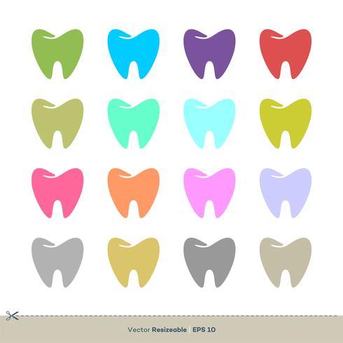 Färgrik tand tandvård Set Icon Logo Mall Illustration Design